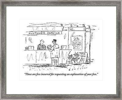 A Customer Service Representative Speaks To A Man Framed Print