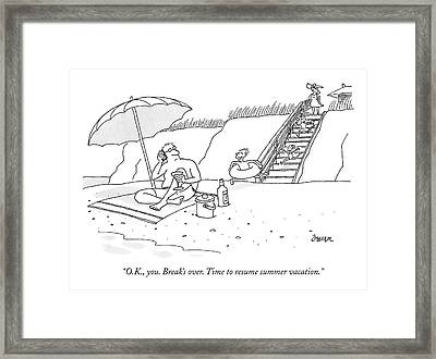 A Dad Seated Beneath An Umbrella At The Beach Framed Print by Jack Ziegler