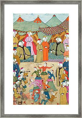 A Dance For The Pleasure Of Sultan Ahmet IIi 1673-1736 From The Surnama, 1720 Framed Print by Ottoman School