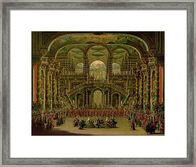 A Dance In A Baroque Rococo Palace Oil On Canvas Framed Print by Francesco Battaglioli