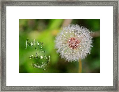 A Dandy Dandelion With Message Framed Print