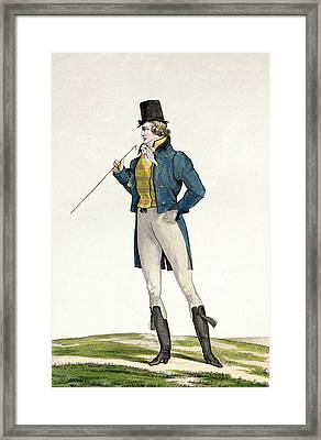 A Dandy In A Robinson Hat Framed Print by Antoine Charles Horace Vernet