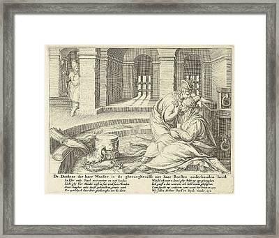 A Daughter Suckles Her Mother In Jail, Zacharias Dolendo Framed Print by Jacob De Gheyn (ii) And Claes Jansz. Visscher (ii)