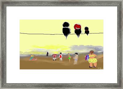 Framed Print featuring the digital art A Day At The Beach by Jessica Wright