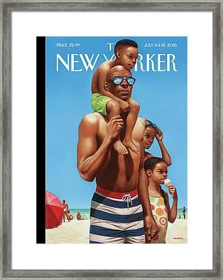 A Day At The Beach Framed Print by Kadir Nelson
