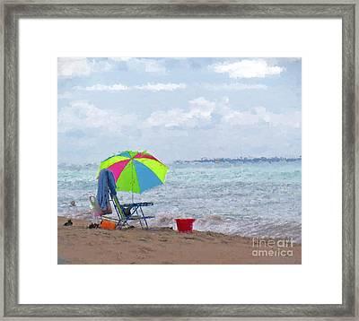 A Day At The Beach Framed Print by Kerri Farley