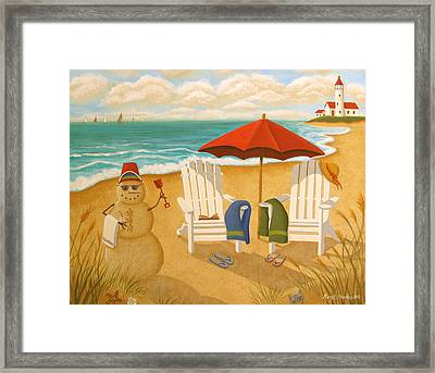 A Day At The Beach Framed Print by Mary Charles