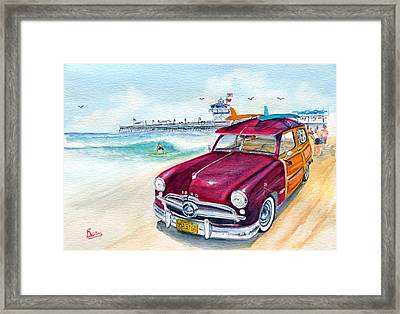 A Day At The Beach With My 49 Ford Woody Framed Print