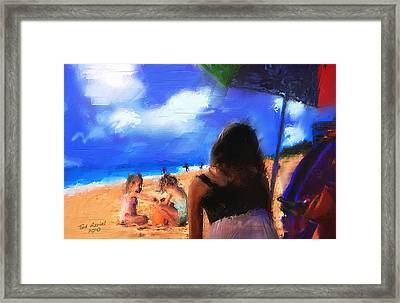Framed Print featuring the painting A Day At The Beach by Ted Azriel