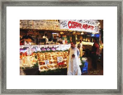 Framed Print featuring the painting A Day At The Fish Market by Ted Azriel