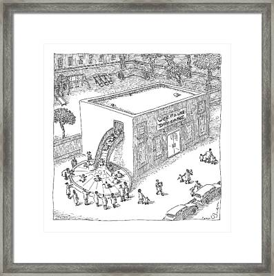 A Day Care Is Seen With Children Riding Framed Print