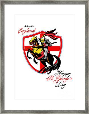 A Day For England Happy St George Day Retro Poster Framed Print