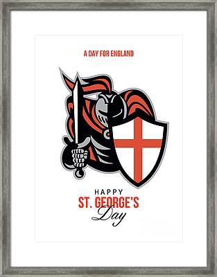 A Day For England Happy St George Greeting Card Framed Print