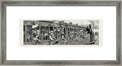 A Day In The Country, A Childrens School Treat In The Train Framed Print