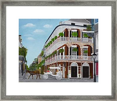 A Carriage Ride In The French Quarter Framed Print by Judy Jones