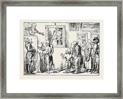 A Day Of Fashion In The Morning Drop In At Christies Framed Print by Cruikshank, George (1792-1878), English