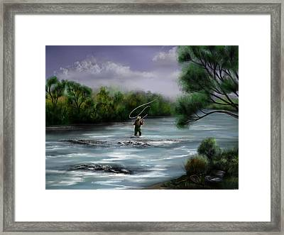 A Day On The Stream - Flyfishing Framed Print