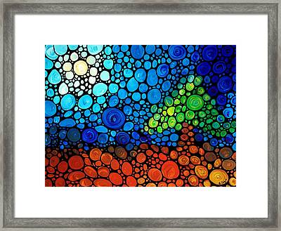 A Day To Remember - Mosaic Landscape By Sharon Cummings Framed Print by Sharon Cummings