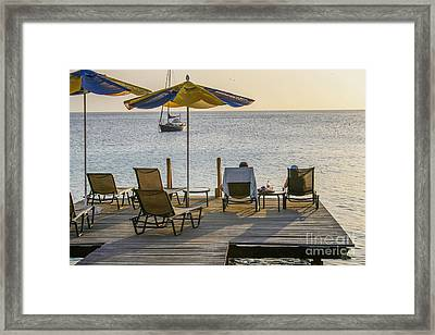 A Deck With A View Framed Print by Patricia Hofmeester