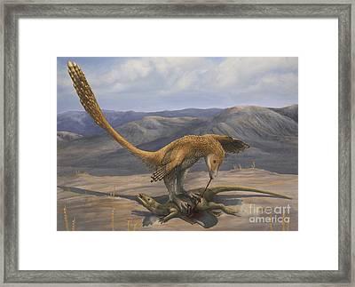 A Deinonychus Feeds On The Carcass Framed Print