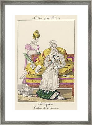 A Dejected Lady Seeks Comfort Framed Print by Mary Evans Picture Library