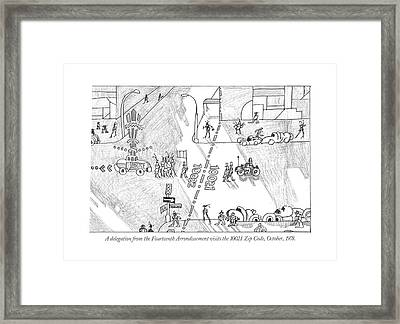 A Delegation From The Fourteenth Arrondissement Framed Print by Saul Steinberg