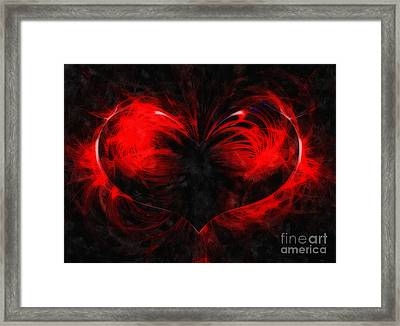 A Digital Painting Of Abstract Colouful Heart Framed Print by Ken Biggs