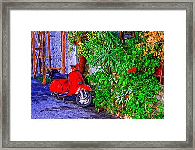 A Digitally Constructed Painting Of A Red Scooter In A Village Street Framed Print