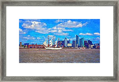 A Digitally Constructed Painting Of A Tall Ship On The River Mersey Framed Print