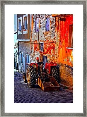 A Digitally Constructed Painting Of A Tractor Parked In A Village Street Framed Print by Ken Biggs
