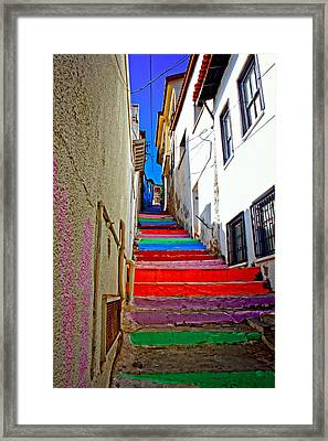 A Digitally Constructed Painting Of Multi Colored Steps In A Turkish Village Framed Print