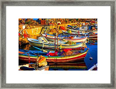 A Digitally Constructed Painting Of Small Fishing Boats In Harbour Framed Print