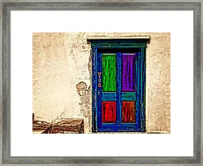 A Digitally Converted Painting Of An Old Weathered Door Framed Print