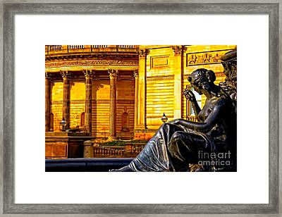 A Digitally Converted Painting Of The Steble Fountain In Liverpool Uk Framed Print