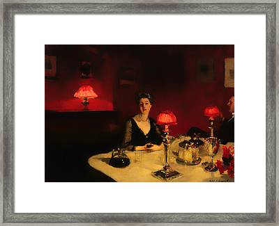 A Dinner Table At Night Framed Print by Mountain Dreams
