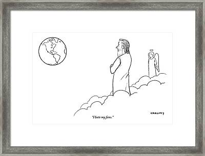 A Disappointed-looking God Remarks To An Angel Framed Print