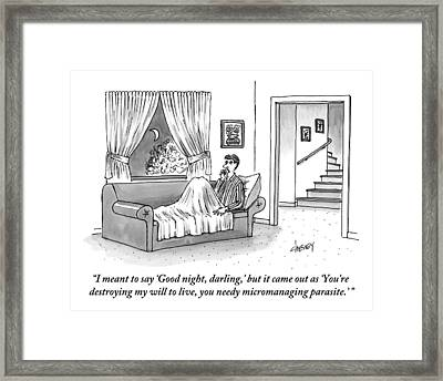 A Disgruntled Man Who Is Ready To Go To Sleep Framed Print
