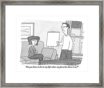 A Disgruntled Woman Sitting In Front Framed Print