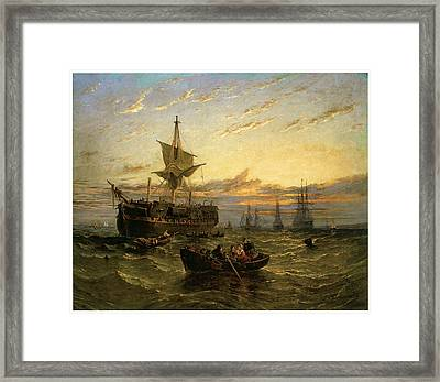 A Dismantled East Indiaman In The Thames Estuary Framed Print by William Adolphus Knell