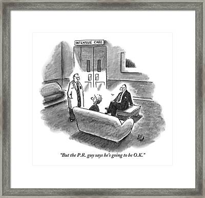 A Distraught Woman Address A Doctor Framed Print