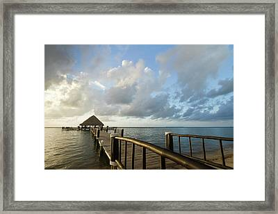 A Dock And Palapa, Placencia, Belize Framed Print by William Sutton