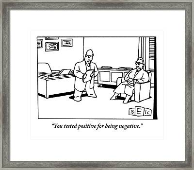 A Doctor Addresses An Older Woman Seated Framed Print by Bruce Eric Kaplan