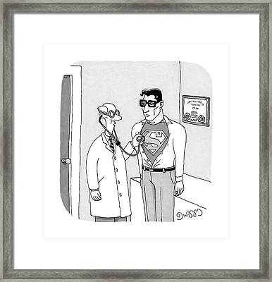 A Doctor Listens To Clark Kent's Heartbeat Framed Print by J.C.  Duffy