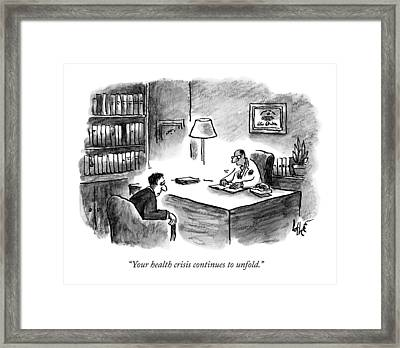 A Doctor Says To A Patient Framed Print