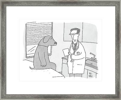 A Doctor Speaks To A Man In A Dog Costume Who Framed Print