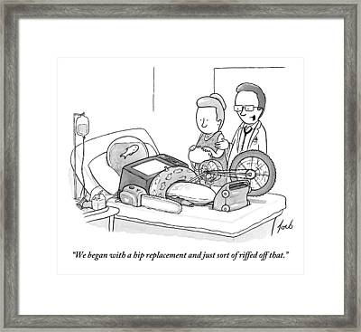 A Doctor Talks To A Concerned Wife. The Patient's Framed Print by Tom Toro