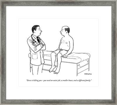A Doctor Talks To A Male Patient Framed Print
