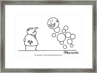 A Doctor Talks To A Man Who Is Made Of Happy Framed Print