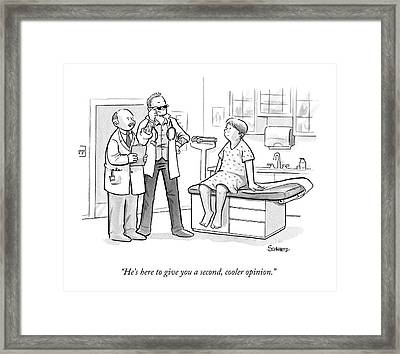 A Doctor Tells A Patient About A Hip-looking Framed Print by Benjamin Schwartz