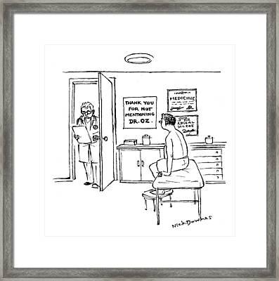 A Doctor Walks Into An Office Where A Patient Framed Print by Nick Downes